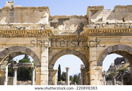 The ruins of Ephesus, Celsus library,  - stock photo