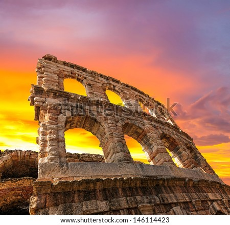 The ruins of the ancient Roman arena in Verona at sunset. (XXL size) - stock photo