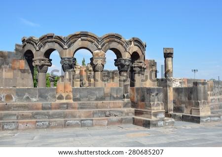 The ruins of the ancient temple of Zvartnots, Armenia - stock photo