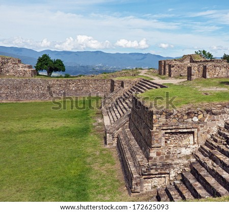 The ruins of the ancient Zapotec city Monte Alban, Oaxaca, Mexico. - stock photo
