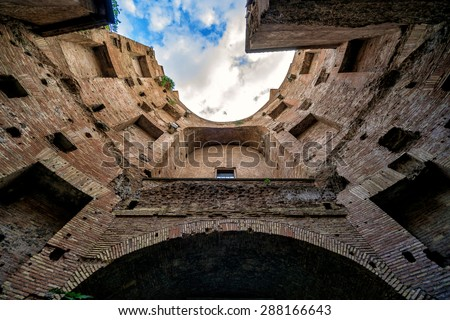 The ruins of the Baths of Diocletian in Rome, Italy - stock photo