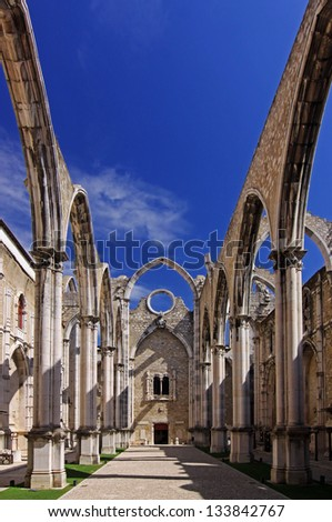 The ruins of the Carmo Church, which was destroyed in the earthquake 1755  Lisbon, Portugal - stock photo