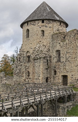 The ruins of the castle Wenden is a popular destination in Latvia - stock photo