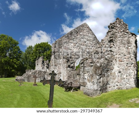 The ruins of the first Rya church. It was completed in the late 1100s. It might by built by monks from the Herrevad Abbey.  - stock photo