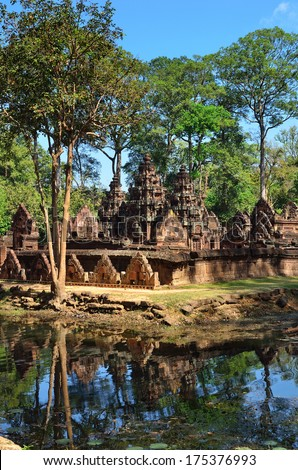 The ruins of the temple Banteay Srei in Angkor Wat, Siem Reap, Cambodia - stock photo