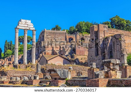 The ruins of the Temple of Castor and Pollux - stock photo