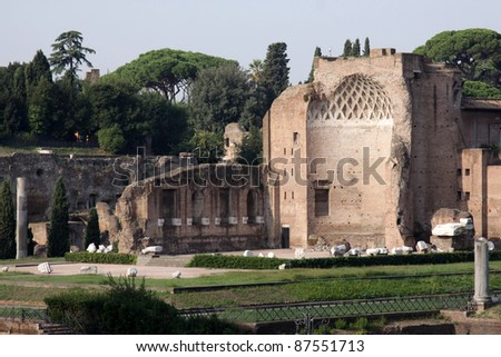 The ruins of the temple of Venus in Rome, Italy. - stock photo
