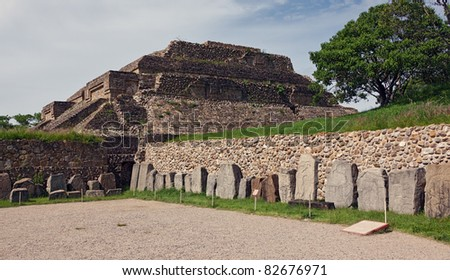 The ruins of the Zapotec city of Monte Alban - Oaxaca, Mexico. - stock photo