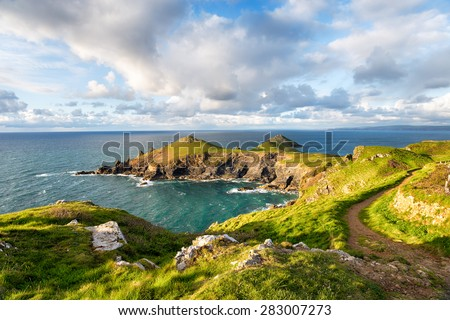 The Rumps on the Cornsih coastline near Polzeath - stock photo
