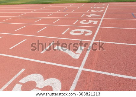 The runway the beautiful in the track and field court  - stock photo
