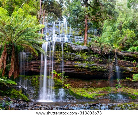 The Russell Falls, a tiered cascade waterfall on the Russell Falls Creek, is located in the Central Highlands region of Tasmania, Australia. - stock photo