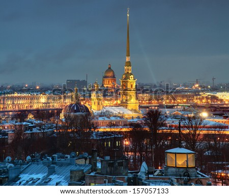 The Russian Federation, St. Petersburg, a top view of the city at night, and the Peter and Paul Fortress. - stock photo