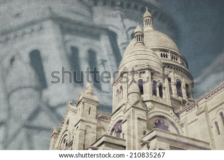 The Sacre Coeur Basilica in Paris - stock photo
