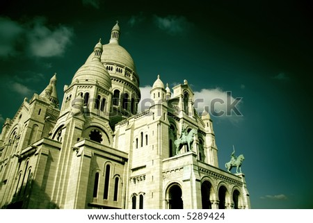 The Sacre-Coeur church in Montmartre, Paris view in special effect filter - stock photo
