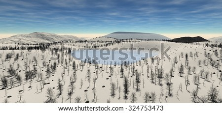The sacred lake at the height of the hill in the winter. The light of day. The sun hidden behind white clouds. Fog. Most vegetation. Forest, grass, stones, lake. 3D Illustration, 3D rendering - stock photo
