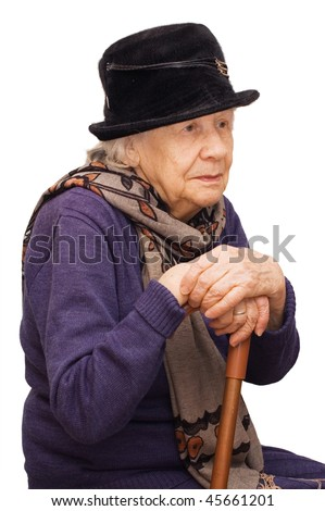 The sad old lady isolated on white background - stock photo