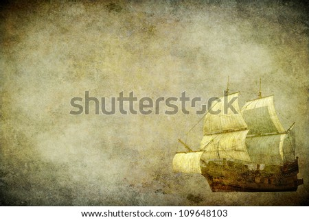 The sailing ship on the old brown paper - stock photo