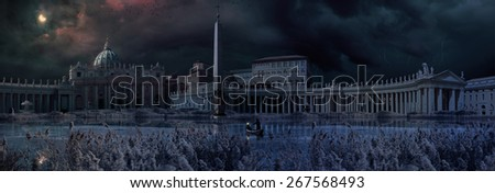 The Saint Peter square apocalyptic scene after the flooding - stock photo