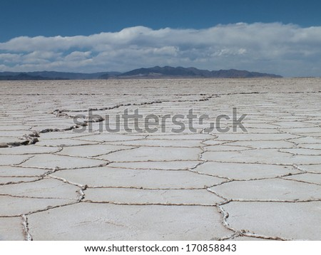 The Salinas Grandes salt flats extend over a 300 square mile area in NW Argentina. This kind salt flat occurs when water containing salt and minerals evaporates leaving behind a deposit of salt. - stock photo