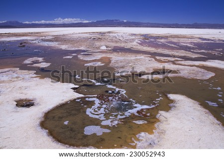 The salt eyes, water bubbling up through the thick layer of salt at Salar de Uyuni, Bolivia - stock photo