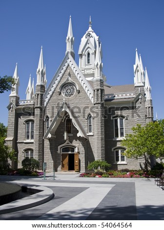 The Salt Lake Assembly Hall is a Victorian Gothic congregation hall. Rough granite walls are laid out in cruciform style making the hall's exterior look like a small gothic cathedral. - stock photo