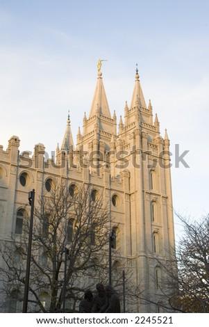 The Salt Lake City, Utah LDS (Mormon) temple taken at dusk. - stock photo