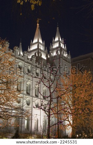 The Salt Lake City, Utah LDS (Mormon) temple taken at night at Christmas time - stock photo