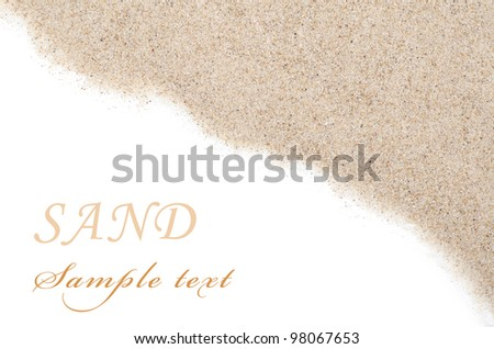 The sand scattering isolated on white background - stock photo