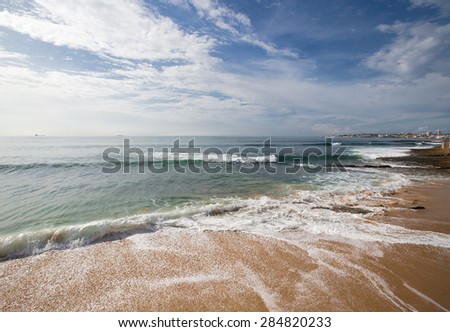 The sandy shores of the Atlantic Ocean. Portugal. - stock photo