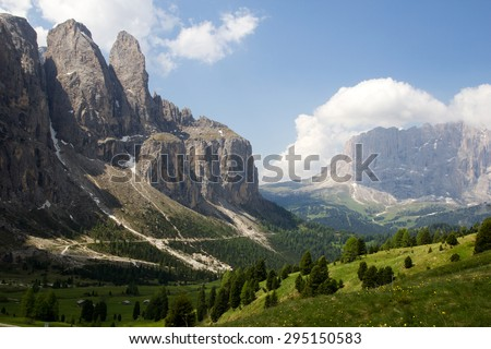 The Sassolungo massif seen from Sella pass, Dolomite Alps, Italy - stock photo