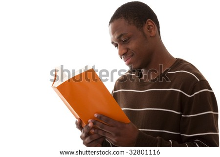 the satisfaction from reading a good book - stock photo