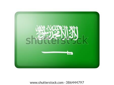 The Saudi Arabia flag. Rectangular matte icon. Isolated on white background. - stock photo