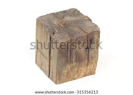 The sawn tree trunk cut diamond shape. - stock photo
