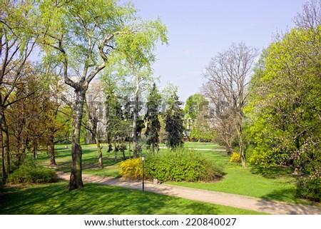 The Saxon Garden (Ogrod Saski) in spring, a public park in the Downtown of Warsaw, Poland - stock photo