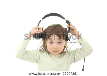 The scared girl. The little girl did not expect to hear bad music - stock photo