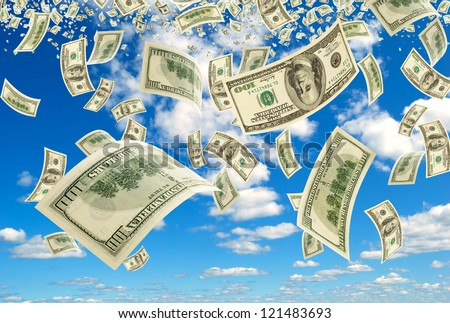 The Scatterring bills on background sky. - stock photo