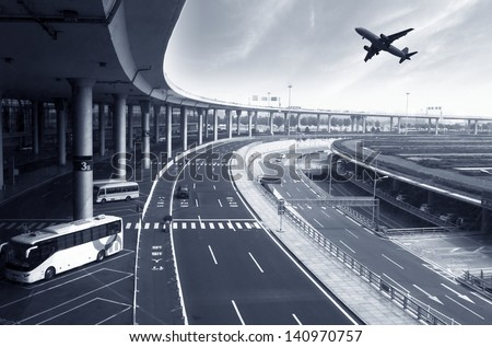 the scene of airport building in beijing china - stock photo