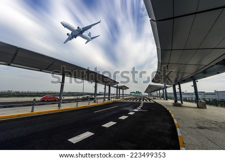 the scene of airport building in shanghai china - stock photo