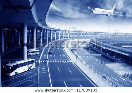 the scene of T3 airport building in beijing  china - stock photo
