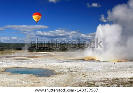 The scenery of Lower Geyser Basin in Yellowstone National Park  - stock photo