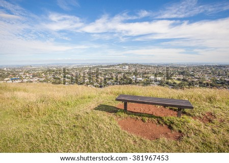 The scenic Auckland's city view from the top of Mount Eden. - stock photo