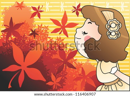 The Scent of fall foliage - enjoying beautiful autumnal tints with a lovely little girl on a yellow background : vector illustration - stock photo