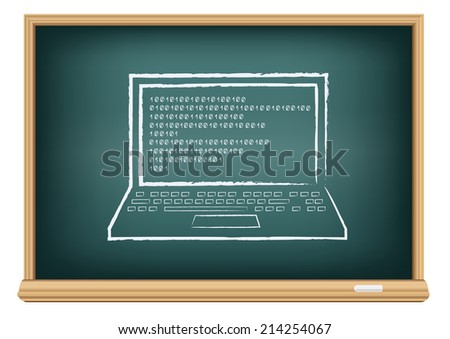 The school blackboard and chalk written laptop and code on screen - stock photo