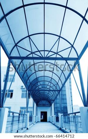 The school corridors, very sense of perspective. - stock photo