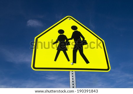 The school zone sign. - stock photo