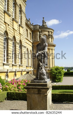 The sculpture on the west facade of the beautiful Blenheim Palace in United Kingdom (Europe) - birthplace of Sir Winston Churchill - stock photo