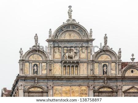 The sculptures on the facade of the Basilica dei Santi Giovanni e Paolo - Venice, Italy - stock photo
