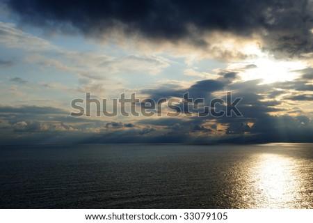 The sea and the sky. Coast of the black sea Crimea, Ukraine - stock photo
