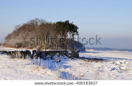 the sea coast in snow, the Baltic Sea, area Kaliningradskay - stock photo