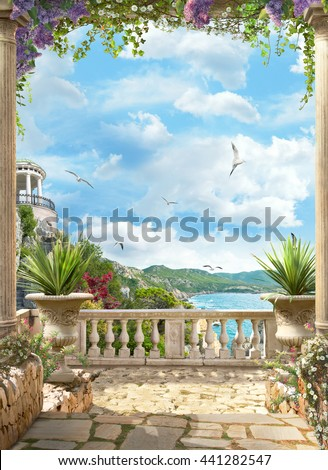 the sea view from the rotunda - stock photo